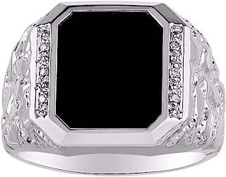 RYLOS 设计师款 Nugget 戒指 镶有钻石和黑色缟玛瑙 纯银或黄金镀银 925