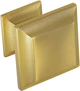 #1880 CKP 品牌 1-5/16 英寸(33 毫米)方形橱柜把手,拉丝缎面黄铜