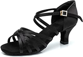 RoseMoli 女式拉丁舞鞋缎面专业交际舞厅萨尔萨练习表演舞鞋 黑色-2 英寸鞋跟 7