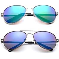 Newbee Fashion - Kyra 儿童流行飞行员闪光/镀膜无铅时尚飞行员儿童太阳镜带弹簧铰链
