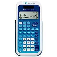 TI-34 MultiView 科學計算器,16 位 LCD 1-包每包 1 條 藍色