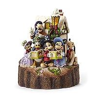 """迪士尼传奇 Jim Shore Mickey and Friends Caroling 发光石树脂小雕像,7.25"""""""
