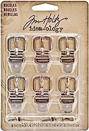 "Idea-Ology Buckles W/Fasteners 1.5"" 6/Pkg-Antique Nickel, Brass &am"