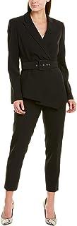 Tahari ASL 女式腰带不对称卵石绉纱裤套装