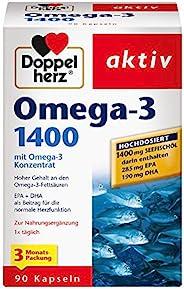Doppelherz Omega-3 1400 mg 3个月装 含高剂量omega-3浓缩物及维生素E的营养补充剂 高含量omega-3脂肪酸 1 x 90粒胶囊