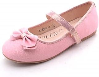 Mila 女孩休闲舒适闪耀闪亮芭蕾舞裙平底鞋适合婚礼派对,樱桃色-2
