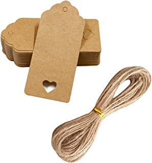 棕色空心心形礼品标签 150 件牛皮纸标签带 20 厘米黄麻双婚派对婴儿沐浴价格 DIY 工艺