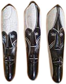 NOVARENA 非洲艺术木雕像 加蓬 刚果树林木墙面具和雕塑 - 非洲家用面具装饰 白色 12 Inches