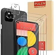 [5 合 1] PULEN 适用于 Google 谷歌 Pixel 5 屏幕保护膜 3 件装带相机镜头(2 件装),高清防刮痕防指纹无气泡,易于安装 9H 硬度钢化玻璃。
