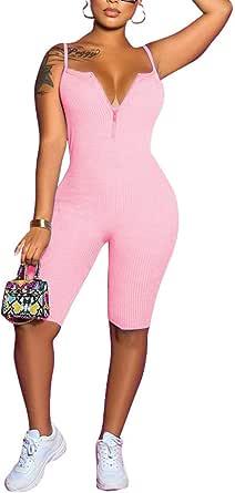 LuFeng 女式性感细肩带无袖露背紧身连身衣俱乐部服装前拉链短裤连身衣