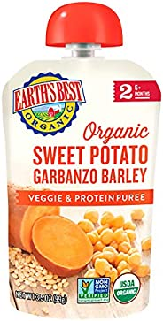 Earth's Best 爱思贝 Organic 阶段二婴儿食品,甘薯鹰嘴豆和大麦,3.5盎司/小袋,99克(1
