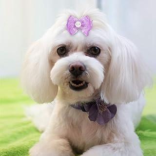 VIFER 宠物蝴蝶结 20 件宠物多色发丝蕾丝蝴蝶结*配件适用于猫中号小型犬