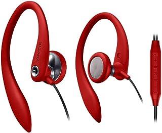 Magnavox 有线入耳式耳机,带麦克风的运动耳机,适用于跑步、锻炼、锻炼和健身房(红色)
