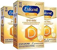 Mead Johnson 美赞臣 Enfamil 产前婴儿维生素 D-Vi-Sol 维生素 D 液体补充滴剂,适用于婴儿的坚固牙齿和骨头,易于使用,不含麸质,50 毫升滴管瓶,3 瓶装