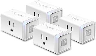 Kasa Smart 插头 HS103P4,智能家居Wi-Fi插座可与Alexa,Echo,Google Home和IFTTT配合使用,无需集线器,远程控制,15 Amp,UL认证,4件装,白色