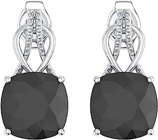 UTOPIA JAIPUR 925 Sterling Silver Prong Set Earring Quartz Cushion White Rhodium Plating Dangle Drop Earrings for Girls an...