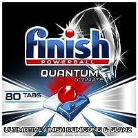 Finish Quantum Ultimate 洗碗机用洗涤块 三重效果/不含磷酸盐 强力清洁/去除油污/还原光泽,80片经济装