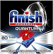 Finish Quantum Ultimate 洗碗机用洗涤块 三重效果/强力清洁/去除油污/还原光泽,80片经济装