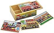 Melissa & Doug 四合一 木制拼图板 汽车图案 带收纳盒(