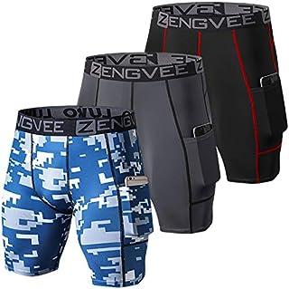 ZENGVEE 男式 3 件装压缩短裤带口袋运动内衣内衣,适用于跑步、锻炼、训练, 3 黑红色 + 灰色 + 格子蓝色, Small