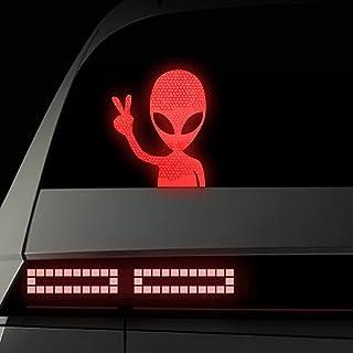 vylymuses 外星人和平反光贴纸汽车,高强度级反光*标志外星人隐藏警告贴花保险杠贴纸适用于汽车保险杠车窗头盔卡车,红色