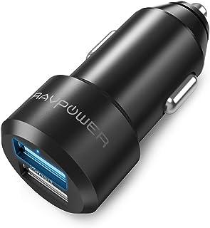 RAVPower 汽车充电器 点烟器插座 USB 车载充电器 [2个/24W/12V・24V车/快速充电] 支持iPhone/iPad/Android/IQOS 等RP-VC006 黑色[亚马逊限定]