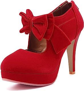 Milesline 时尚复古女式小蝴蝶结防水台高跟鞋女式性感高跟鞋
