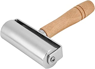 TOPINCN 皮革滚轴皮革压边滚轴皮革工艺木制手柄碳钢滚动工具皮革胶辊金属卷,用于皮革工艺工作(100 毫米)