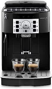 De'Longhi 德龙 Magnifica S ECAM 22.110.B 全自动咖啡机 带有奶泡器,可制备卡布奇诺,带有制备意式浓缩(Espresso)和咖啡的控制键盘,2杯功能,1.8升水箱,黑色/银色