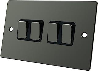 平板黑色镍 4 Gang 开关 - 10 安培四轮驱动 4-Gang 双向灯开关