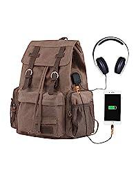 P.KU.VDSL 帆布筆記本電腦背包,AUGUR 系列復古皮革背包,*挎包背包男士女士旅行徒步旅行1039