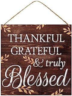 GiftWrap Etc. Thankful Grateful & Truly Blessed 标志 - 30.48 厘米 x 30.48 厘米,木质圣诞装饰,棕色复古前门装饰,花环,家庭,厨房,农舍