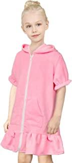 Fiodrimy 女孩罩衫连帽拉链厚绒布泳衣罩衣适用于游泳沙滩裙儿童 4-9 岁