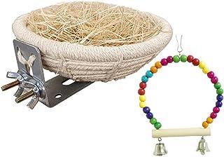 TRYAH 鸟巢温暖窝 手工棉绳鸟饲养巢 带天然木材的小鸟秋千玩具 适合小长尾鹦鹉、爱鸟、玄凤鹦鹉、金刚鹦鹉和其他小鸟
