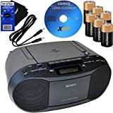 Sony 索尼 便携式 CD 播放器 Boombox 带 AM/FM 收音机和磁带播放器 + 6 节电池 + CD 维护…