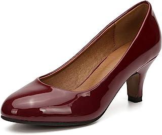 女式经典圆头高跟小猫低跟鞋