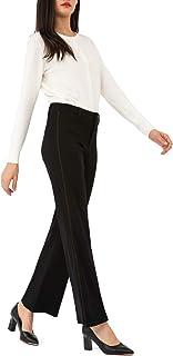 Bamans 女式喇叭裙裤弹力侧条纹阔腿