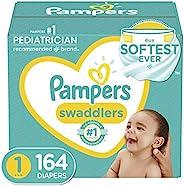 新生儿尿布/1 号(8-10 磅),164 件 - Pampers Swaddlers 一次性婴儿尿布,大量包装(包装可能有所不同)