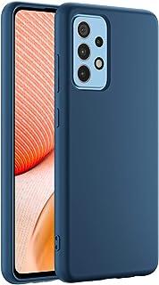 Cresee 兼容三星 Galaxy A52 5G / A52 4G 手机壳,超薄硅胶保护套,带超细纤维内饰防刮超薄贴合灵活手机壳,适用于 Galaxy A52,蓝色