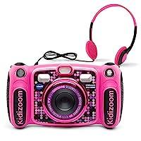 VTech Kidizoom Duo 5.0 豪華數碼自拍相機,帶 MP3 播放器和耳機, 粉紅色