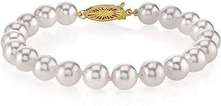 THE PEARL SOURCE 18K 金 6.5-7 毫米圆形白色日本 Akoya 海水养殖珍珠女士手链