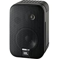 JBL Control One 书架式音箱,坚固紧凑型 卫星音频监听音箱 (一对装),黑色