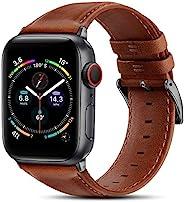 BRG 皮革表带兼容 Apple Watch 苹果手表表带 44 毫米 42 毫米 40 毫米 38 毫米,男式女式替换真皮表带,适用于 iWatch SE 系列 6 5 4 3 2 1,橙色棕色表带/太空灰色适配器,4