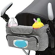 MIEMIE 通用婴儿推车收纳架,带 2 个隔热杯架婴儿车配件包,适合Uppababy、Baby Jogger、Britax、Bugaboo、BOB、雨伞和宠物推车 灰色