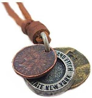 棕色真皮合金吊坠可调项链男式项链中性项链 酷炫项链 Pl220