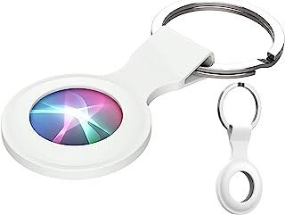 TanMay 手机壳适用于 AirTag 钥匙查找器手机定位器,防刮保护皮套带钥匙扣(白色)