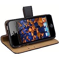 mumbi 翻蓋皮質手機殼 iPhone SE 5 5S 手機套 黑色