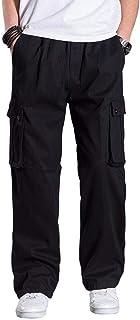 TRGPSG 男式抓絨內襯休閑褲,全彈性腰圍戶外工作服套穿休閑時尚運動工裝褲