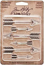 Tim Holtz Idea-ology箭头装饰,每包 6 个饰品,多种尺寸,古董镍表面,TH93127