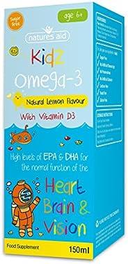 Natures Aid Omega-3儿童鱼油 150毫升 天然柠檬味 高EPA和DHA 无糖 6岁以上儿童